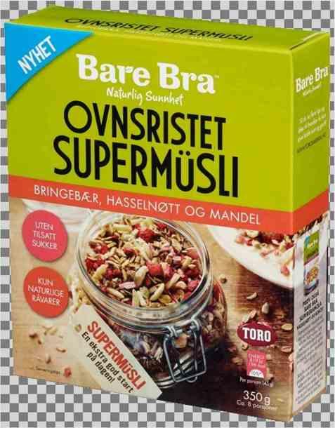 Bilde av BareBra Ovnsristet Supermüsli Bringebær, Hasselnøtt og Mandel.