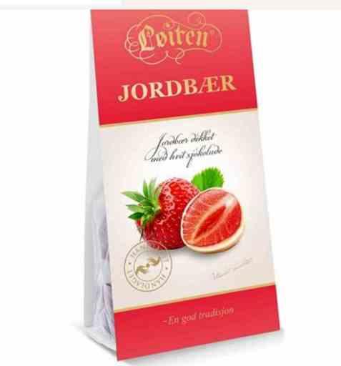 Bilde av Løiten Jordbær i hvit sjokolade.