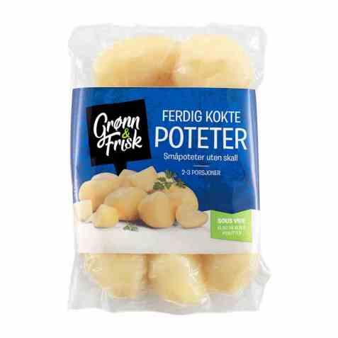 Bilde av Grønn og frisk ferdig kokte poteter uten skall.