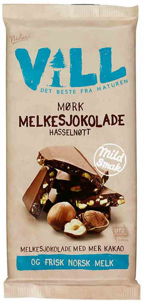 Bilde av Nidar Vill Mørk Melkesjokolade med hasselnøtter.
