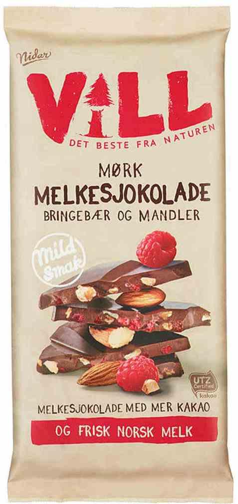 Bilde av Nidar Vill Sjokolade Mørk Bringebær og mandel.