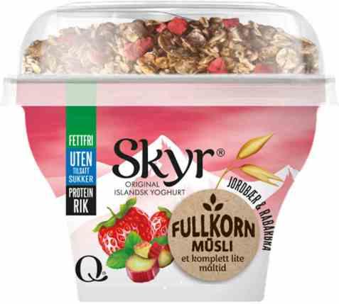Bilde av Q skyr jordbær og rabarbra fullkornmüsli.