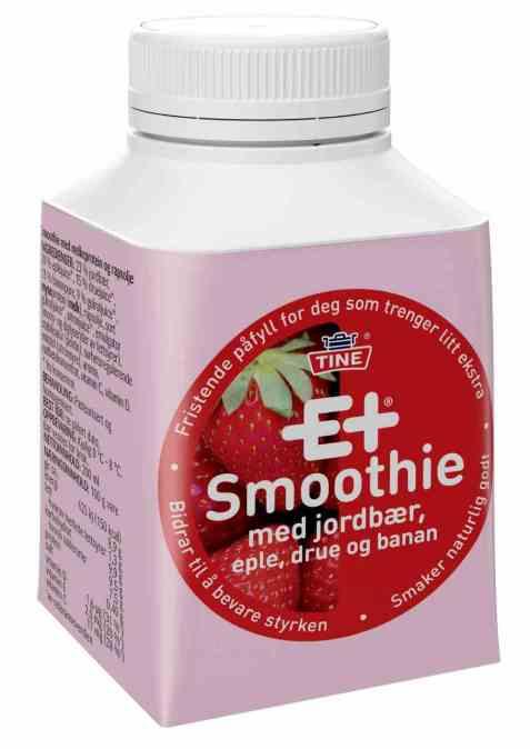 Bilde av Tine E+® Smoothie Jordbær, Eple, Drue og Banan.
