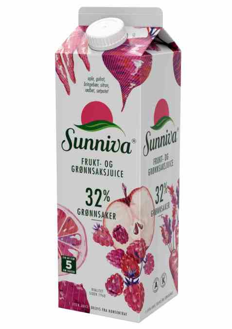 Bilde av Tine Sunniva® Frukt- og Grønnsaksjuice eple og bringebær.