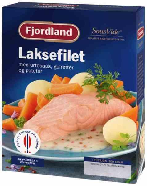 Bilde av Fjordland laksefilet med urtesaus, gulrøtter og poteter.