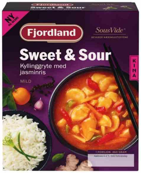 Bilde av Fjordland sweet and sour kyllinggryte med jasminris.
