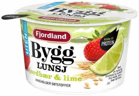 Bilde av Fjordland Byggrynslunsj jordbær og lime UTEN.
