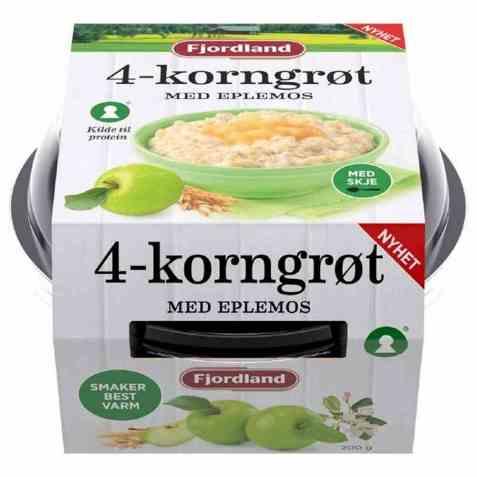 Bilde av Fjordland 4-korngrøt med eplemos.