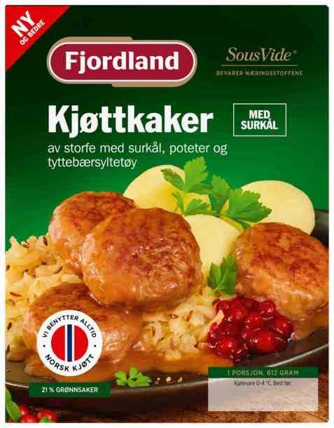 Bilde av Fjordland Kjøttkaker med surkål og poteter.