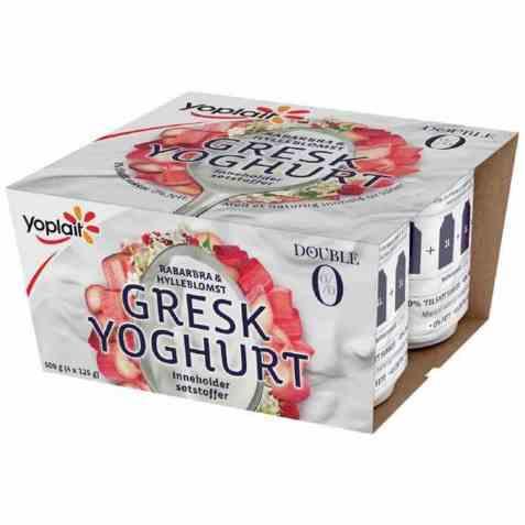 Bilde av Yoplait Double 0 % Gresk Yoghurt Rabarbra og hylleblomst.