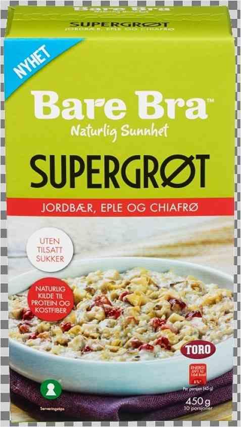 Bilde av BareBra supergrøt med jordbær, eple og chiafrø.