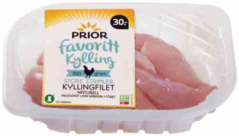 Bilde av Prior kyllingfilet store strimler 250 gr favorittkylling.