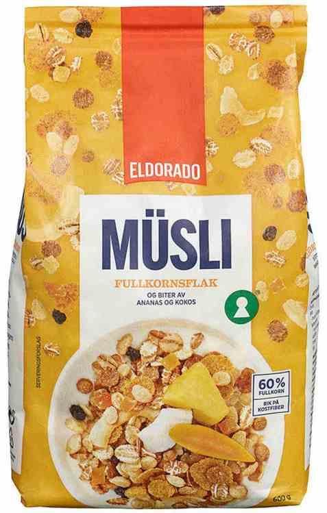 Bilde av Eldorado musli fullkornsflak ananas og kokos.