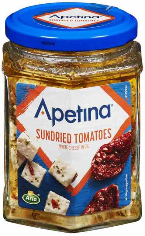 Bilde av Arla Apetina white cheese cubes in oil Sundried Tomatoes.