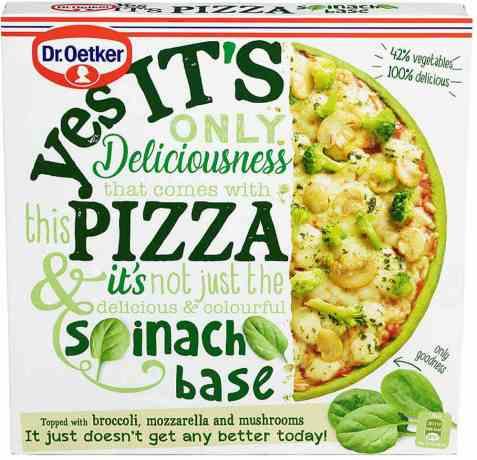 Bilde av DrOetker pizza yes its spinatbunn.