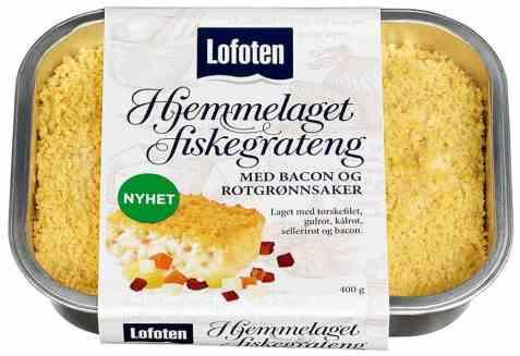 Bilde av Lofoten Hjemmelaget Fiskegrateng bacon og grønnsaker.