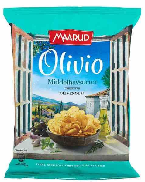 Bilde av Maarud Olivio chips middelhavsurter.