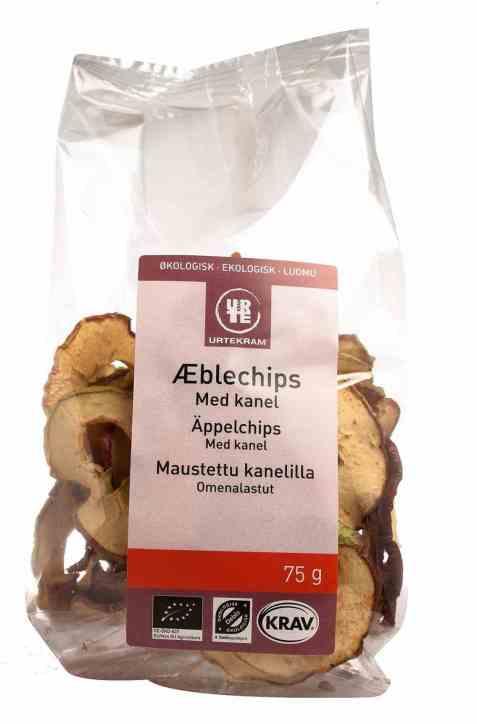 Bilde av Urtekram eple-chips med kanel.