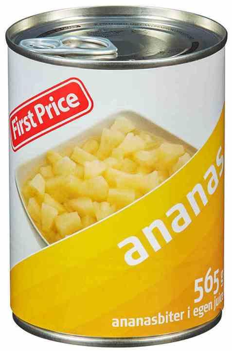 Bilde av First Price ananas i biter.