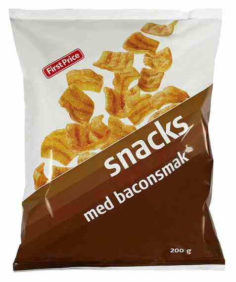 Bilde av First Price bacon snacks.