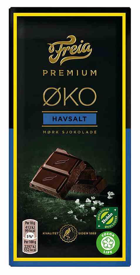 Bilde av Freia Premium øko 70 prosent mørk kakao havsalt 90 gr.