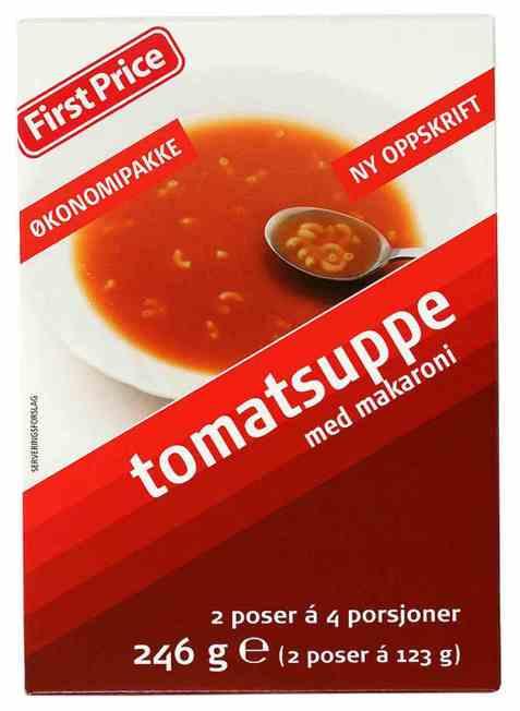 Bilde av First Price tomatsuppe med macaroni.