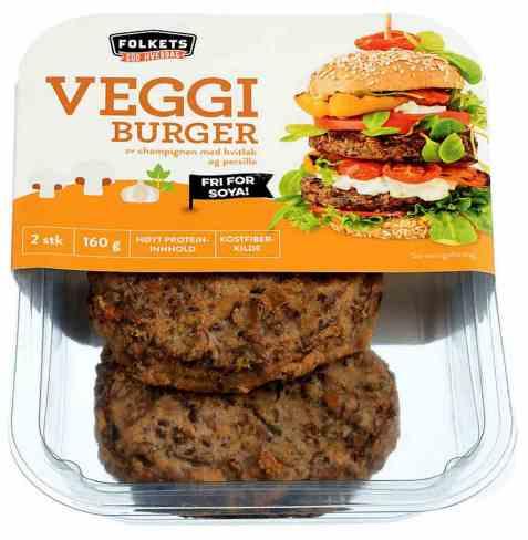 Bilde av Folkets vegetar burger med champignon.