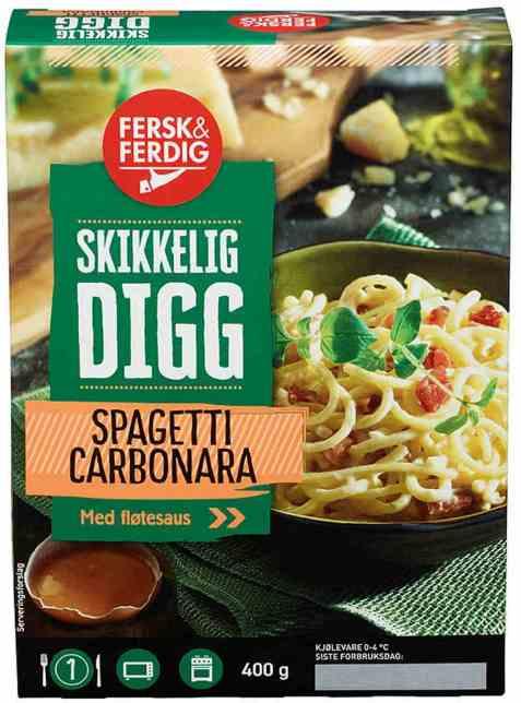 Bilde av Fersk og ferdig spaghetti carbonara.
