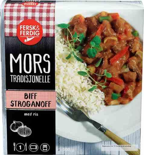 Bilde av Fersk og ferdig biff stroganoff.