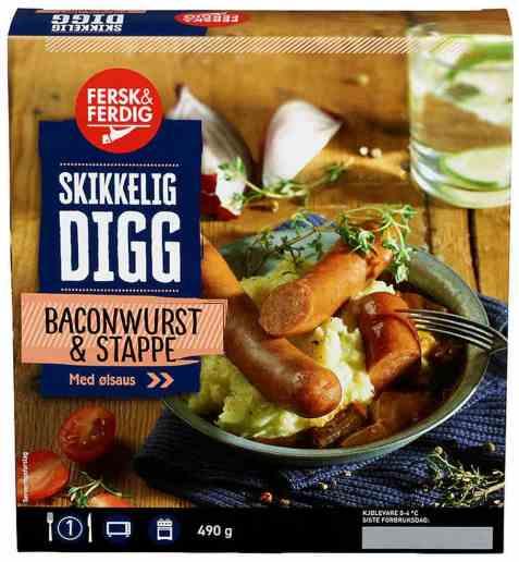 Bilde av Fersk og ferdig baconwurst og stappe.