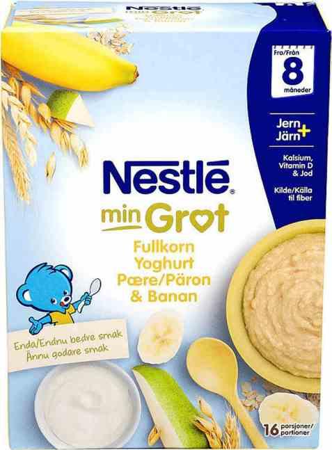 Bilde av Nestlé min Fullkornsgrøt med yoghurt pære og banan 8 mnd pulver.