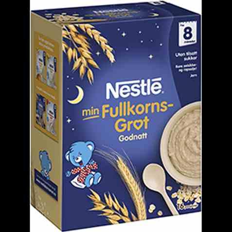 Bilde av Nestlé min grøt God natt fullkorn fra 8 mnd, pulver.