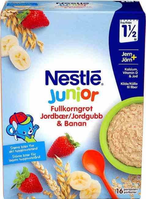 Bilde av Nestlé Junior Fullkornsgrøt med jordbær og banan 18 mnd pulver.