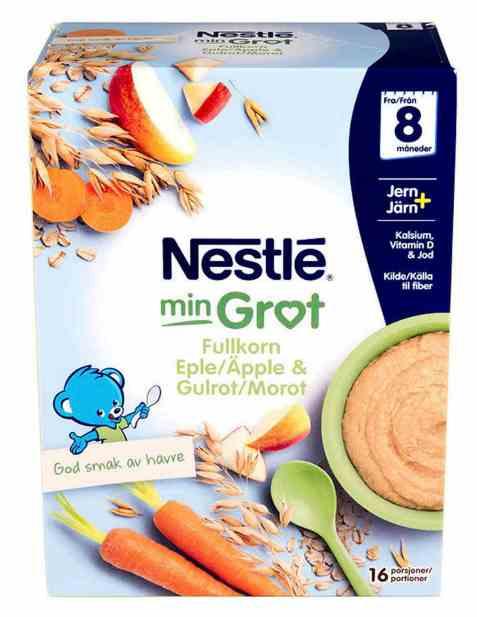 Bilde av Nestlé min grøt fullkorn eple og gulrot fra 8 mnd, pulver.