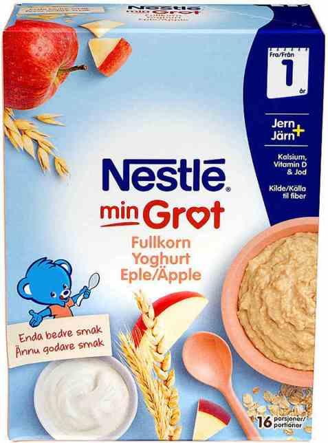 Bilde av Nestlé min grøt fullkorn eple og yoghurt fra 12 mnd, pulver.