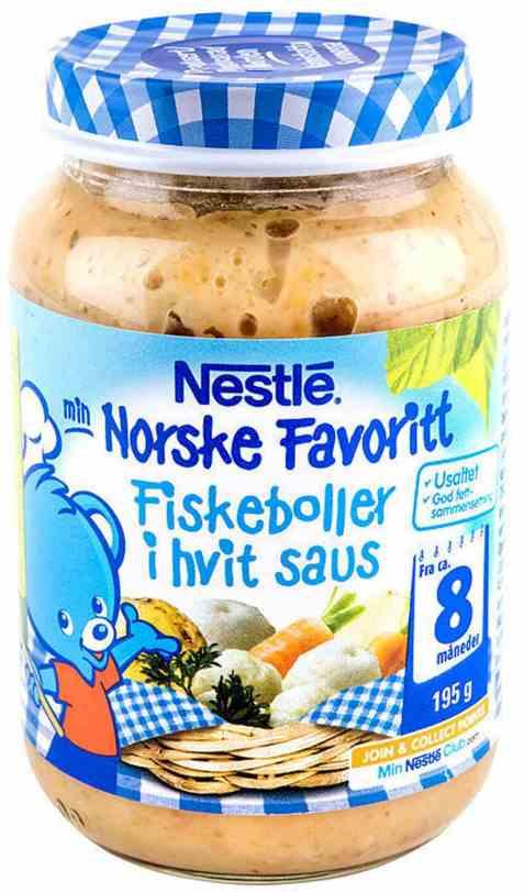 Bilde av Nestle norske favoritter fiskeboller i hvit saus 8 mnd.