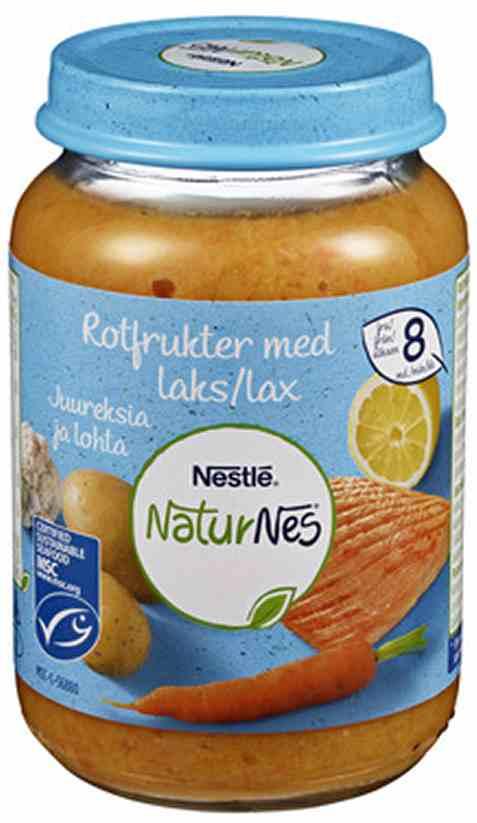 Bilde av Nestlé naturnes økologisk Rotfukter med laks og sitron 8 mnd.