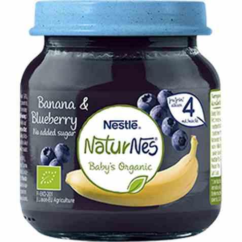 Bilde av Nestlé naturnes økologisk banana blueberry 4 mnd.
