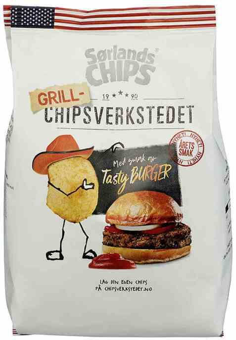 Bilde av Sørlandschips chipsverkstedet tasty burger.