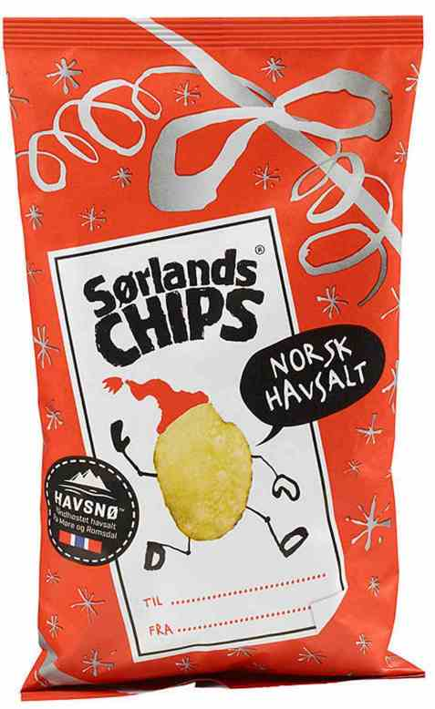 Bilde av Sørlandschips havsalt god jul.