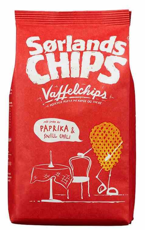 Bilde av Sørlandschips vaffelchips paprika og chili.