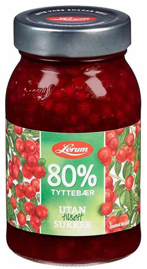 Bilde av Lerum tyttebærsyltetøy uten sukker 340 gr.
