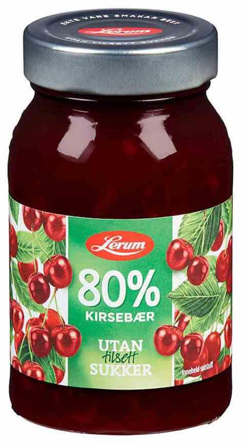Bilde av Lerum kirsebærsyltetøy.