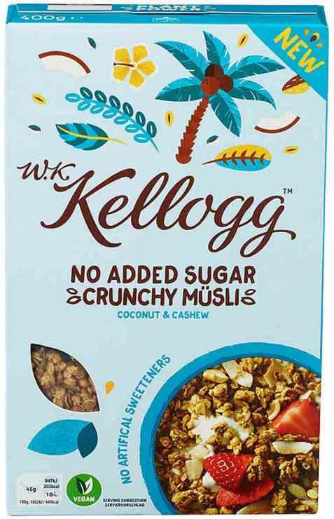 Bilde av Kelloggs musli coconut og cashew.