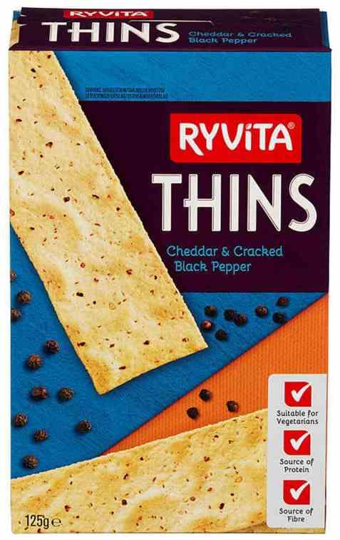 Bilde av Ryvita thins kjeks cheddar og pepper.