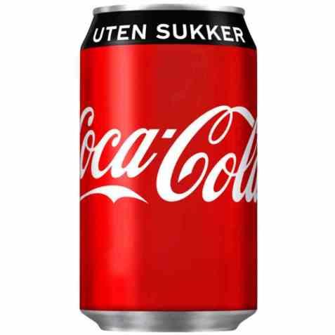 Bilde av Coca Cola uten sukker boks 0,33 vanlig boks.