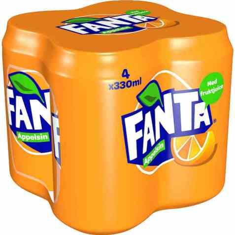Bilde av Fanta Orange 0,33 l boks 4 pakk.