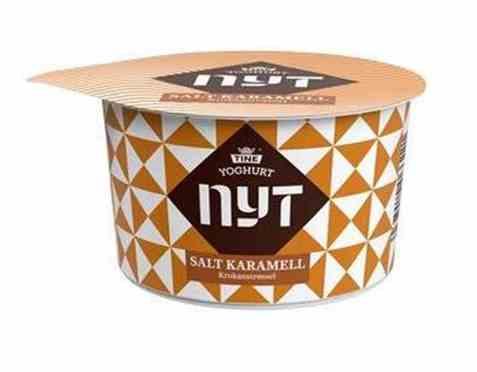 Bilde av TINE Yoghurt Nyt Salt Karamell med Krokanstrøssel.
