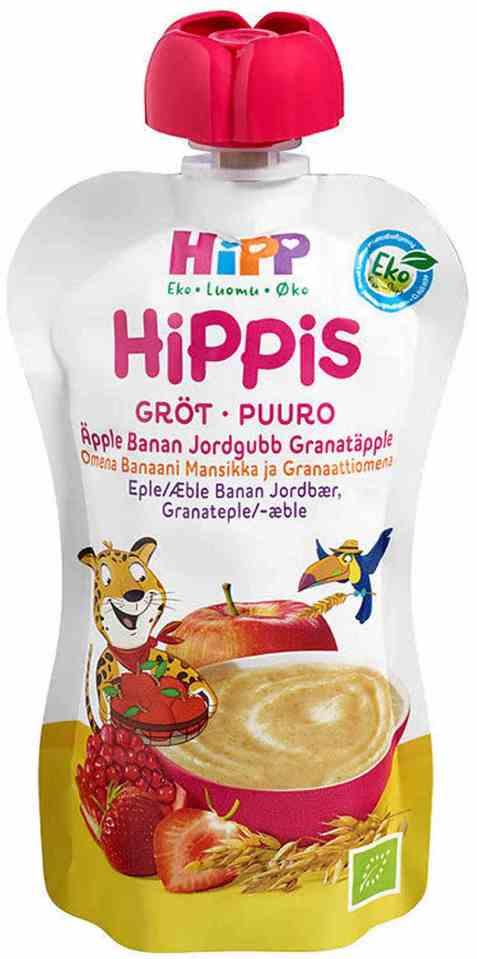 Bilde av Hipp hippis grøtsmoothie eple, banan, jordbær og granateple.