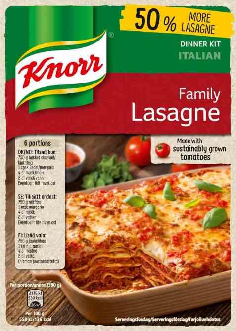 Bilde av Knorr lasagne familiepakning.